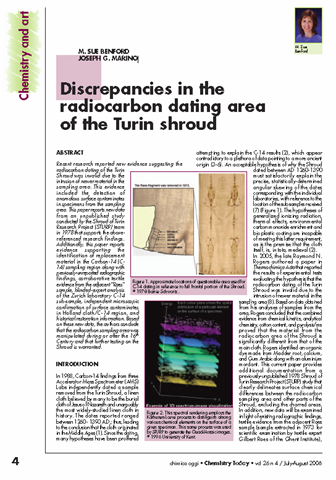 Carbon dating of turin shroud