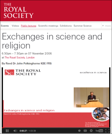 Royal Society Lecture: Exchanges in science and religion